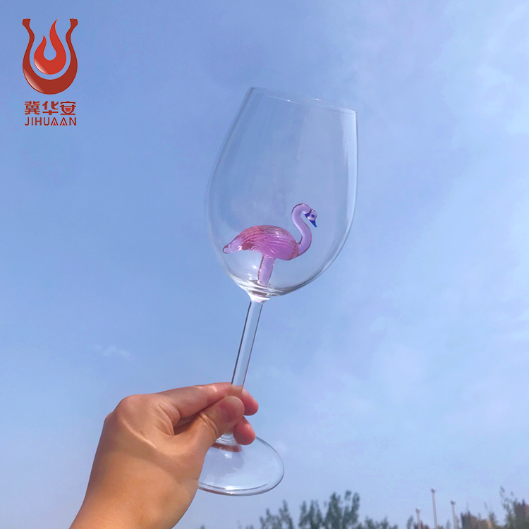 High quality Borosilicate China Factory Cheap strong wine glass Flamingo goblet wine glass
