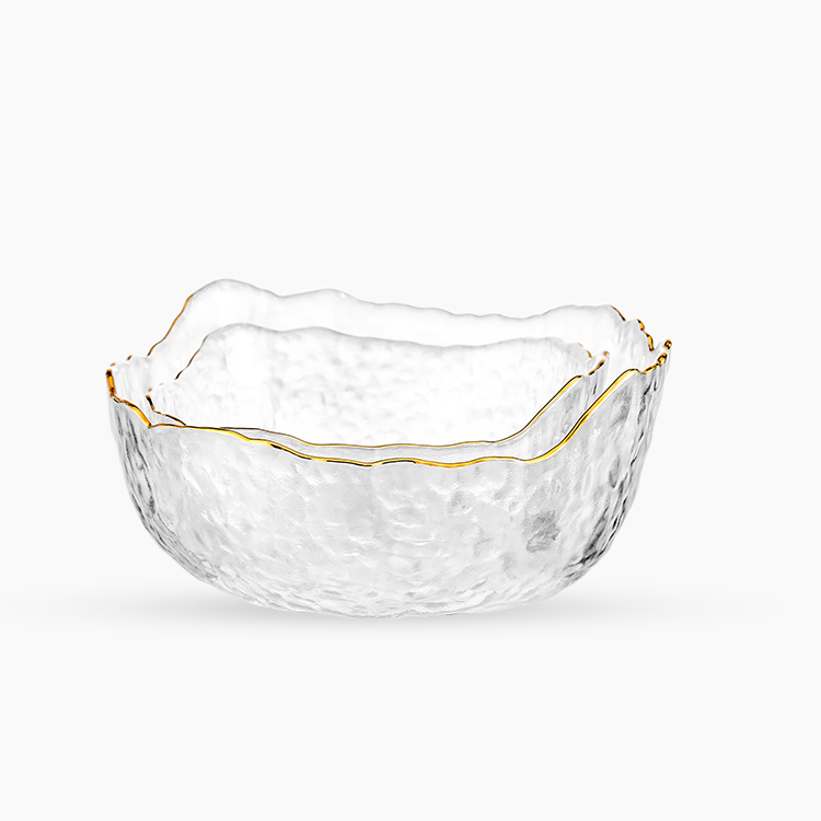 Wholesale glass bowl of large fruit salad with wavy edge