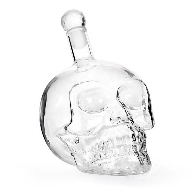 Hot sale wholesale 750ml 1000ml transparent red wine skull glass bottle whisky bottle